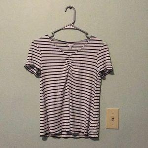 Striped shirt-sleeves blouse- B+W